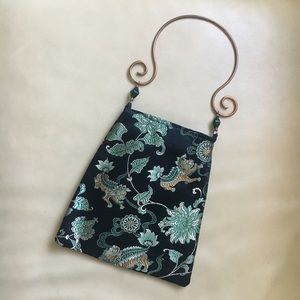 90s Vintage DAS Satin Chinese Brocade Handbag